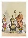 Chinese Taoist Religious Customs: a Bonzo in Ceremonial Robes  Engraved by Fumagalli and Bramatti