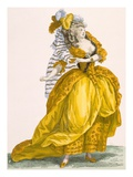 Woman Dressed in Elaborate Dress and Headpiece  Engraved by Bacquoy  Plate No218