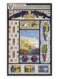 Stained Glass Window Designs  from 'Decorative Sketches'  C1895 (Colour Litho)