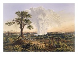 The Falls by Sunrise with the Spray Cloud Rising 1 200 Feet  1865 (Colour Print)