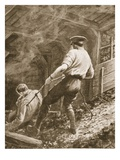 Lance-Corporal Clapson Dragging an Officer  Who Had Been Gassed  Out of a Mine (Litho)