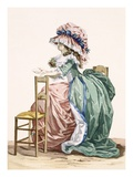 Lady Sits Leaning on a Chair  Engraved by Bacquoy  Plate 203