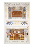 Two Shop-Front Designs: a Perfume Seller's and a Toyshop  C1880-95 (Colour Litho)