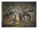 Prussian Hussars on a Night Picket  C1799-1802 (Colour Litho)