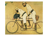 Self Portrait of Casas with Pere Romeu on a Tandem  1897 (Oil on Panel)
