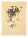 Bull and Dog in Field (Colour Litho)