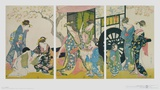 Leave of the Beauty before Driving with the Vehicl Reproduction d'art par Kitagawa Utamaro