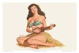 Pin Up Girl Playing Ukelele c1951