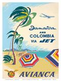 Jamaica & Columbia via Jet Travel c.1960s Reproduction d'art