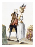 Elegant Lady at a Fitting with Her Tailor  Plate from 'Galerie Des Modes Et Costumes Francais'