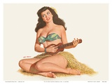 Pin Up Girl Playing Ukelele c1951
