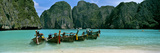 Longtail Boats in the Sea  Maya Bay  Phi Phi Le  Thailand