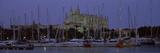 Boats at a Harbor with a Church in the Background  La Seu  Palma  Majorca  Balearic Islands  Spain