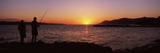 Silhouette of a Man Fishing in the Sea  Makarska  Dalmatia  Croatia