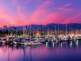 Boats Moored in Harbor at Sunset  Santa Barbara Harbor  Santa Barbara County  California  USA