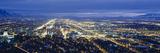 Aerial View of a City Lit Up at Dusk  Salt Lake City  Utah  USA