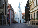 Church with Buildings Along a Street  Our Lady of Sorrows Church  Old Town  Riga  Latvia