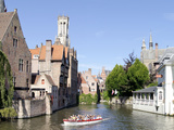 Tourboat in a Canal  Bruges  West Flanders  Belgium