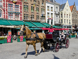 Horsedrawn Cart at a Market  Bruges  West Flanders  Belgium