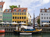 Buildings Along a Canal with Boats  Nyhavn  Copenhagen  Denmark