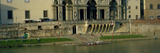 Boat Dock of Sculling Club on Arno River Underneath the Uffizi Museum  Florence  Tuscany  Italy