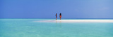 Two Women Standing on the Beach Sandbar  Maayafushi Island  Ari Atoll  Maldives