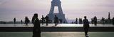 Tourists Walking Near a Tower  Eiffel Tower  Seine River  Paris  Ile-De-France  France