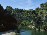 Natural Arch on a River  Pont D'Arc  Ardeche  France