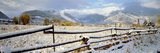 Wooden Fence Covered with Snow at the Countryside  Colorado  USA