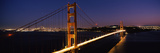 Suspension Bridge Lit Up at Dusk  Golden Gate Bridge  San Francisco  California  USA