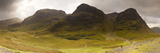 Storm Clouds over a Mountain Range  Three Sisters of Glen Coe  Glencoe  Highlands Region  Scotland