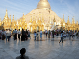 Tourists at a Courtyard  Shwedagon Pagoda  Yangon  Myanmar