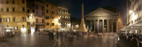 Town Square with Buildings Lit Up at Night  Pantheon Rome  Piazza Della Rotonda  Rome  Lazio  Italy