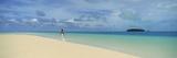 Woman in Distance on Sandbar  Aitutaki  Cook Islands