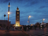 Koutoubia Mosque and Street Scene at Night in Marrakesh  Morocco