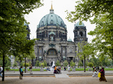 People in a Park in Front of a Cathedral  Berlin Cathedral  Berlin  Germany