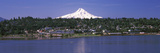 Buildings at the Riverside with a Snowcapped Mountain in the Background  Mt Hood  Hood River  Ho