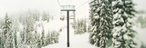 Chair Lift and Snowy Evergreen Trees at Stevens Pass  Washington State  USA