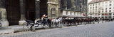 Horsedrawn Carriages at a Town Square  Stephansplatz  Vienna  Austria