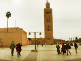 Tourists at Courtyard of the Koutoubia Mosque  Marrakesh  Morocco