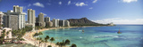Buildings Along the Coastline  Diamond Head  Waikiki Beach  Oahu  Honolulu  Hawaii  USA