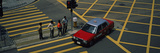 Car Moving on a Pedestrian Crossing  Central District  Victoria  Hong Kong Island  Hong Kong  China