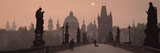 Charles Bridge at Dusk with the Church of St Francis in the Background  Old Town Bridge Tower  