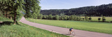 Cyclist Moving on the Road  Neckar Valley  Baden-Wurttemberg  Germany