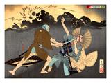 Ukiyo-E Newspaper: Murai Choan Killing His Younger Brother at the Crossroads in Rain