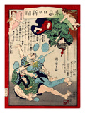 Ukiyo-E Newspaper: a Wife of a Tatami Mat Workman Fall Down on Stairs as She Escapes from Burglars