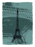 Black Eiffel Tower Paris in Light Green