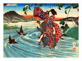 Ukiyo-E Newspaper: Natsume Shirosaburo Carries Kijin Omatsu over the River