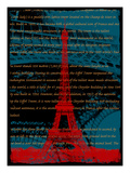 Red Eiffel Tower Paris on Green