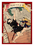 Ukiyo-E Newspaper: Kanpei Shoot an Actor in a Roll of Samurai Sadakuro with Rifle